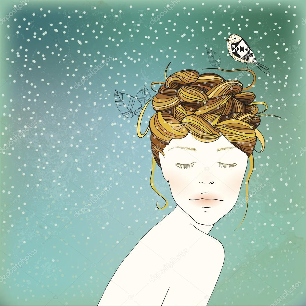 Hand Drawn Winter Girl's Nest Hair