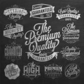 Set of Vintage Premium Quality Stickers And Elements On Chalkboard
