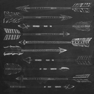 A set of cute hipster hand drawn arrows on chalkboard