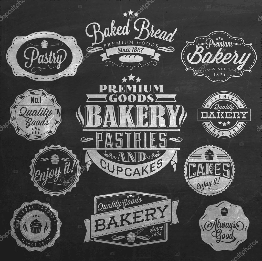 Vintage retro bakery badges and labels on chalkboard - Retro vintage ...