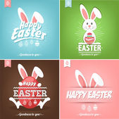 Set Of Happy Easter Cards Illustration With Easter Eggs And Rabbit