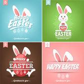 Set von glücklichen Ostern Karten Illustration mit Ostereier und Kaninchen