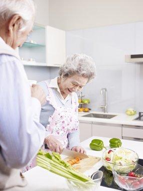 Senior couple in kitchen
