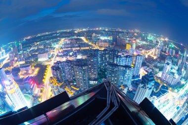 Fisheye Lens view of City skyline