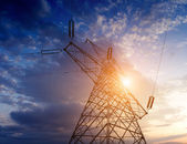 Photo High-voltage tower sky background