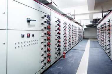 Substation in a power plant.