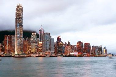 Hong Kong night view of Victoria Harbor, Hong Kong Island busine