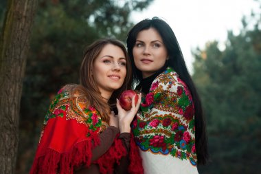 Russian girls in national headscarves