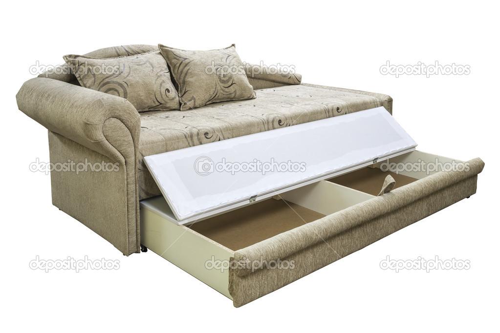 Ein Sofa, Isoliert Auf Weißem Hintergrund. Ein Liege Sofa Auf Weißem  Hintergrund U2014 Foto Von Alexcrysman