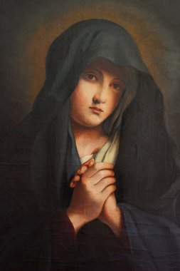 The Madonna in Sorrow , old oil paint