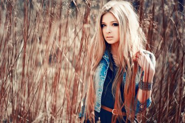 portrait of young sensual pretty blonde