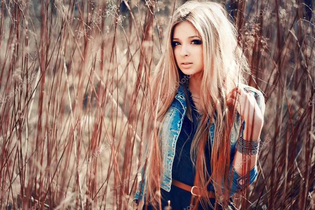 portrait of young sensual pretty blonde