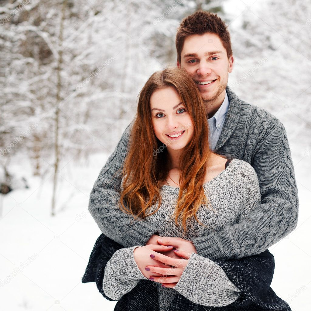 winter portrait of happy couple.
