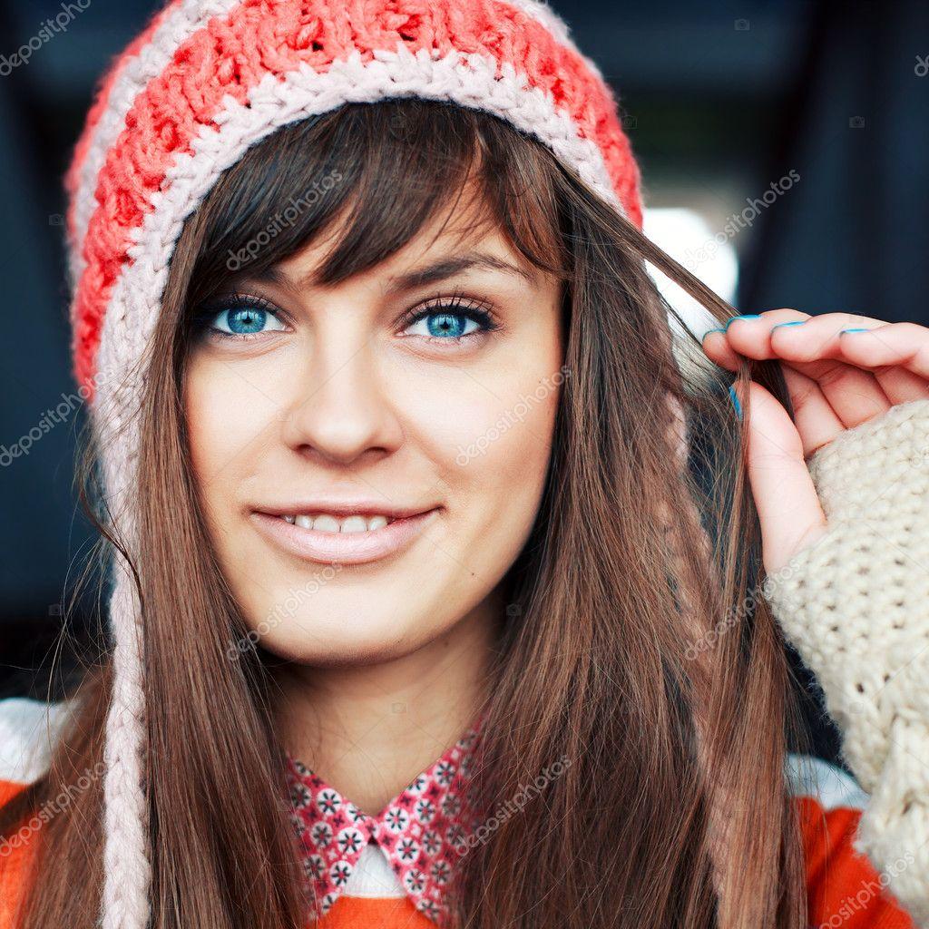 girl in warm hat.