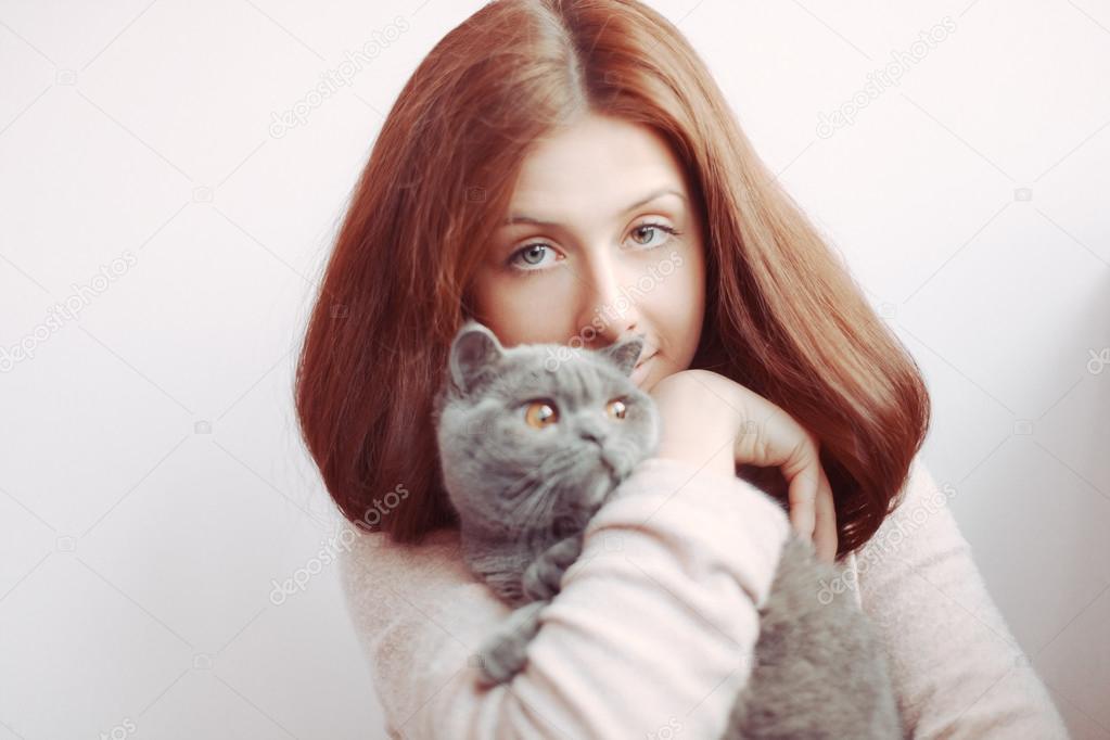 girl with british cat