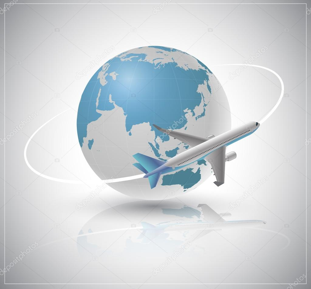 Air plane around the world.