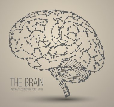 Abstract brain with flat icons