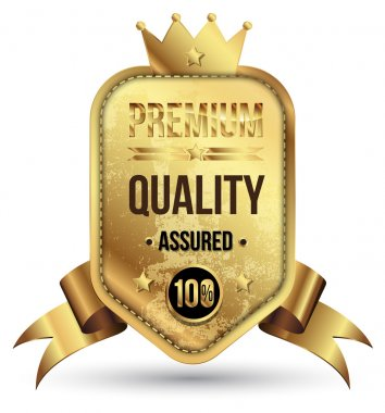 Golden premium badge with gold ribbon.