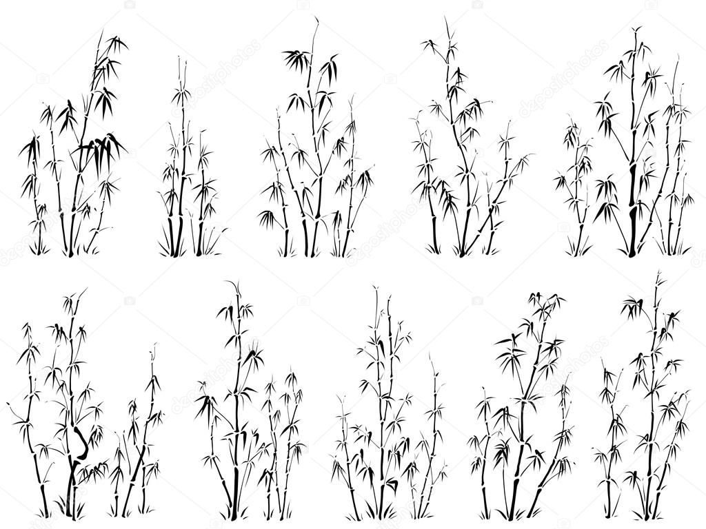 set of vector silhouettes of bamboos stock vector c vertyr 18373723 https depositphotos com 18373723 stock illustration set of vector silhouettes of html