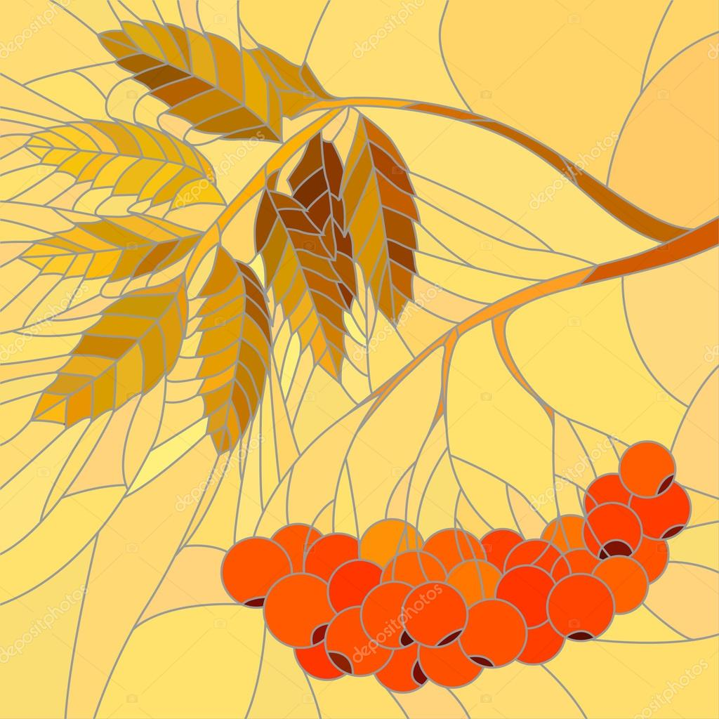 Vector mosaic illustration of rowan branch.