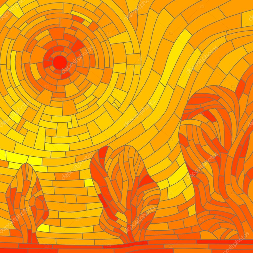 Mosaic abstract red sun with trees in yellow tone.