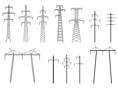 Set of vector silhouettes of pylons power line.