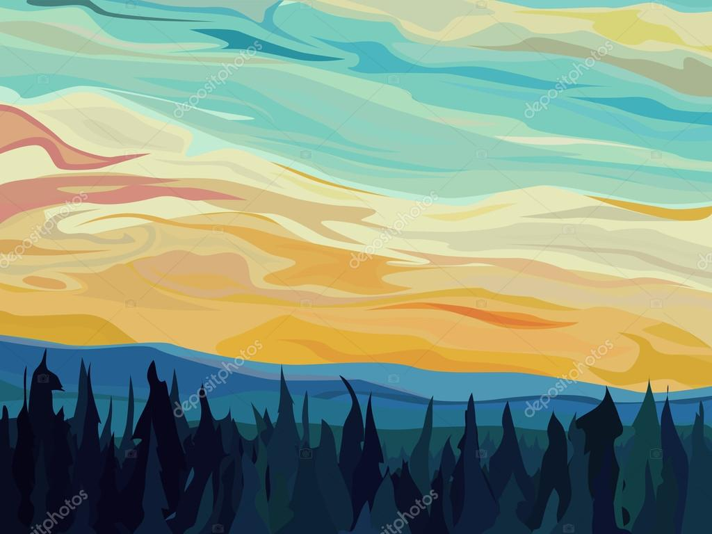 Abstract vector hills of coniferous forest against sunset.