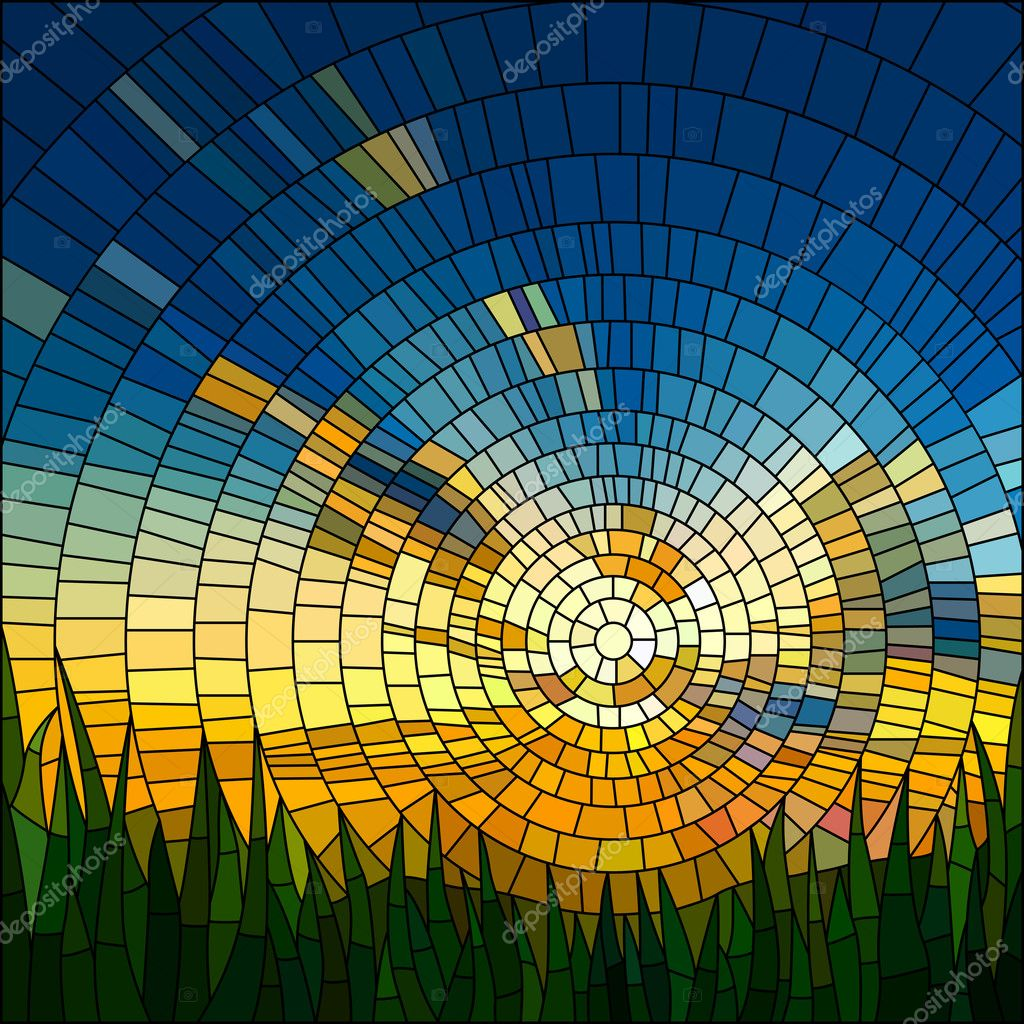 Vector illustration of sunset in grass.