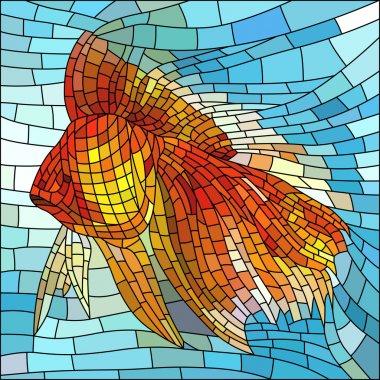 Vector illustration of gold fish.