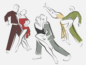 Sketches of dancing couples in line style