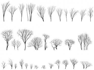 Set of vector silhouettes of trees and bushes without leaves during the winter or spring period. stock vector
