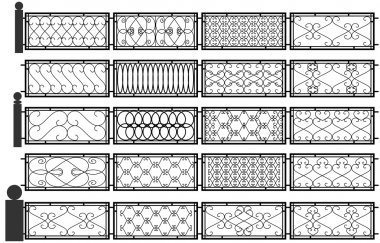 Vector set of silhouettes of iron fences