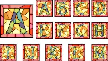 Mosaic capital letters alphabet.