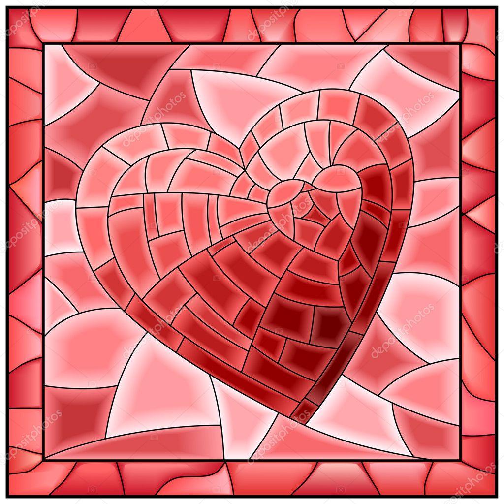 Fönster blyinfattade fönster : Hjärtat blyinfattade fönster med ram — Stock Vektor © Vertyr #22102909