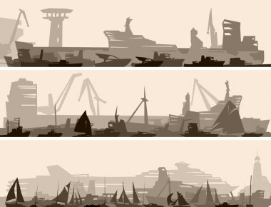 Horizontal banner of big harbor with many different ships.
