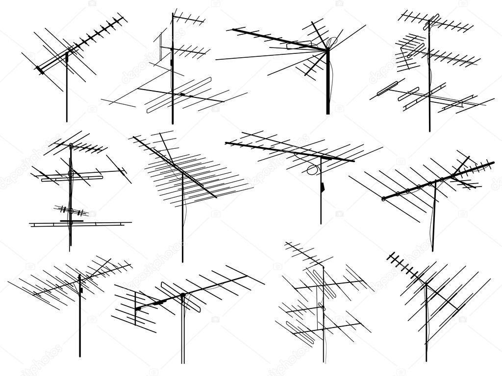 Antenna Stock Vectors Royalty Free Illustrations Tv Wire Diagram Set Of Silhouettes Different Television Aerial Vector