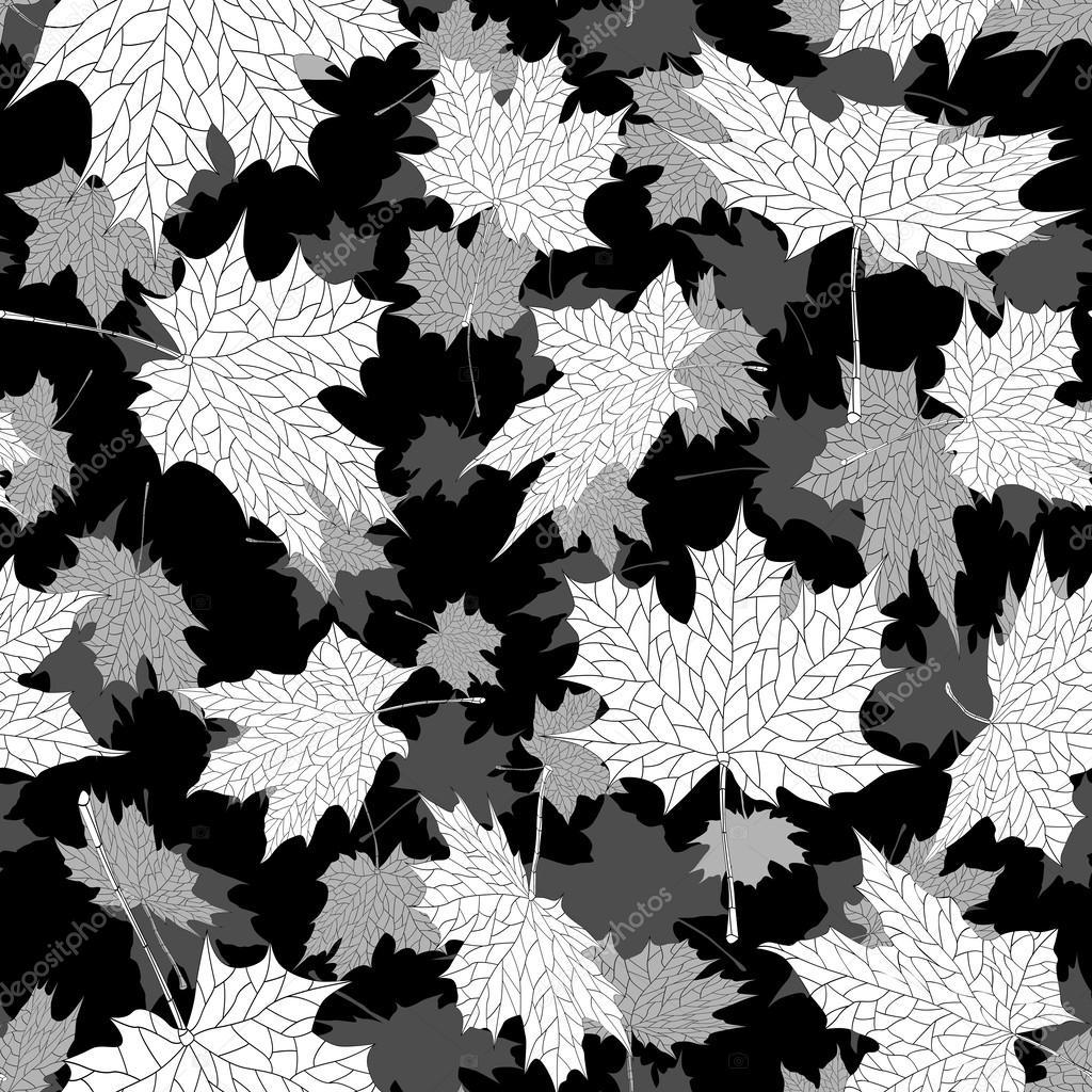 Oto o hojas de arce fondo blanco y negro sin costura - Descargar autumn leaves ...