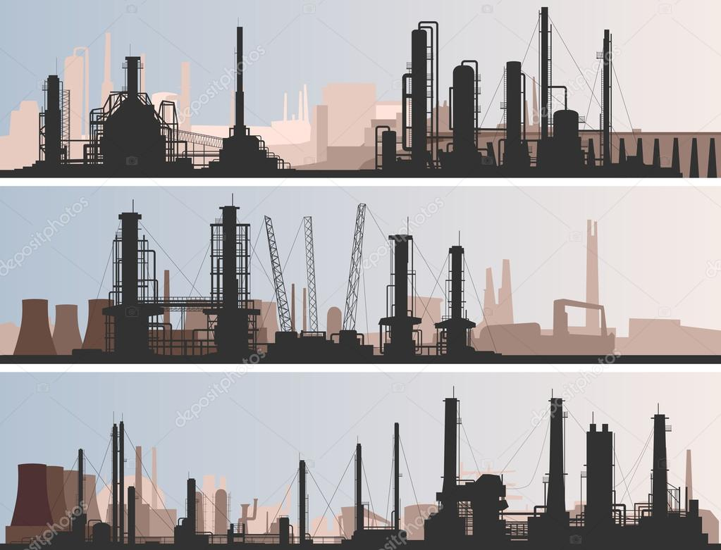 Vector abstract horizontal banner: industrial part of city with factories, refineries and power plants. stock vector