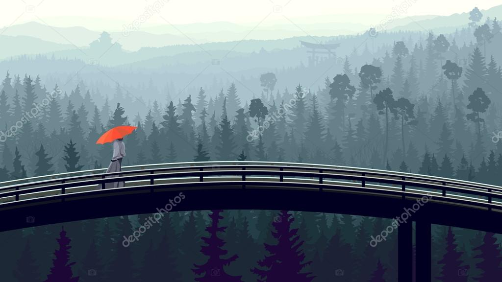 Wild coniferous wood in morning fog with bridge.