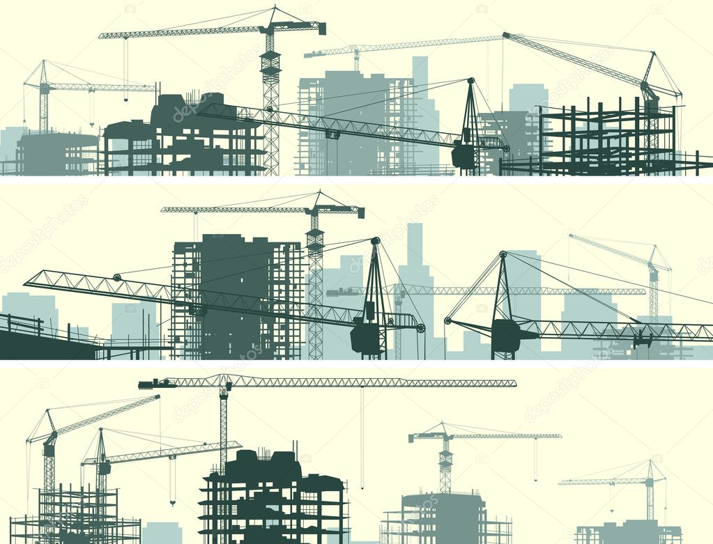 Horizontal banner of construction site with cranes and building.