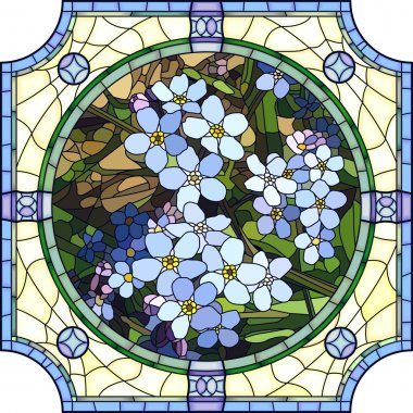 Vector illustration of flower blue forget-me-not.
