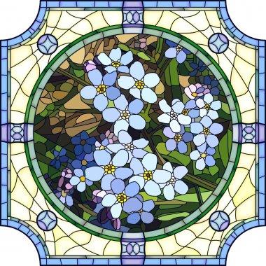 Vector illustration of flower blue forget-me-not.