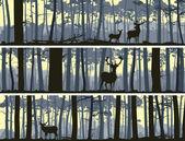 Horizontální bannery volně žijících živočichů v lese