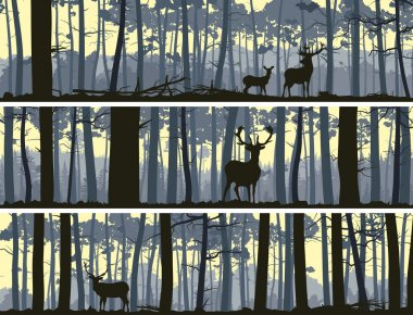 Horizontal banners of wild animals in wood.