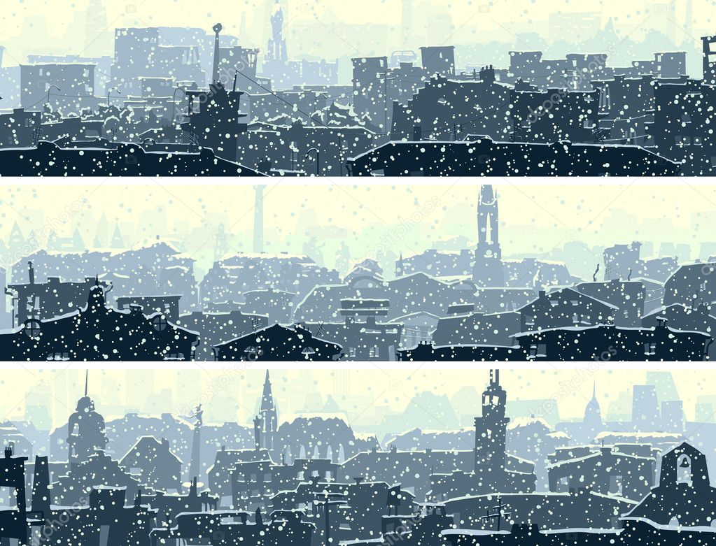 Horizontal banners of big snowy city.