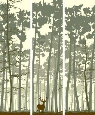 Vertical banners of deer in coniferous wood.