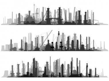 Horizontal illustration set industrial part of city.