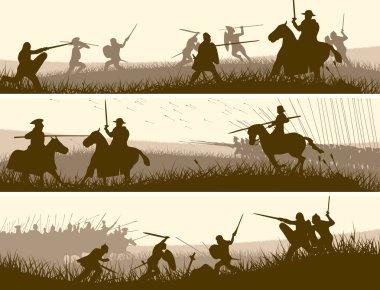 Horizontal vector banners of battle fighting swordsmen, spearmen and cavalry in the battle field. stock vector