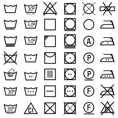 Set of icons on clothing label.