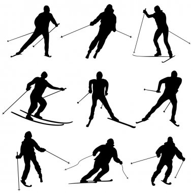Set of vector silhouettes skiers.